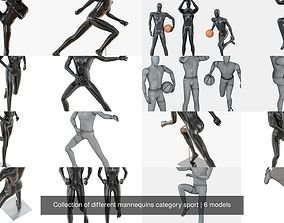 3D model Collection of different mannequins category sport