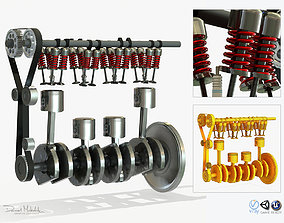 3D model Animated Engine Parts 4T PBR
