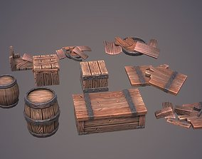 Stylized Wooden Crates And Barrels Pack Volume 1 3D model