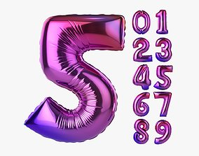 Foil air balloon numbers 01 3D