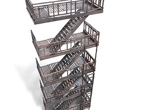 fire escape - Game Ready - pbr 3D asset game-ready