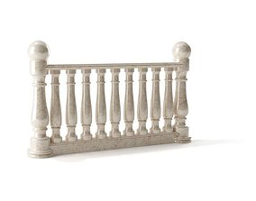 3D model White Marble Railing retro