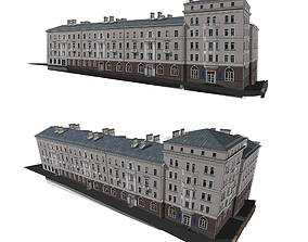 3D Brick house with shops