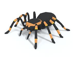 Low Poly Cartoon Tarantula 3D asset