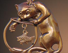 3D printable model cat pendant