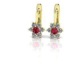 Diamonds Flower Earrings 3D print model