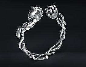 Wild Roses Ring silver 3D print model