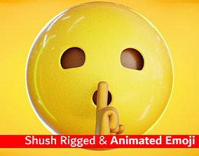 Shushing Animated Emoji Reaction 3D asset