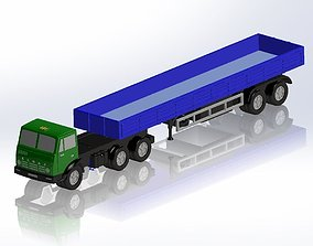 3D printable model KamAZ and 2-axis flatbed semitrailer