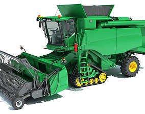3D wheat Green Combine Harvester