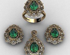 Diamond and emerald set 3D print model