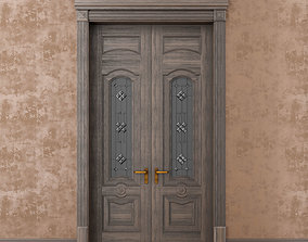 3D Classic wood door whith stained-glass window