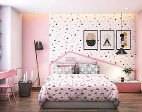 girl bedroom design 3D model
