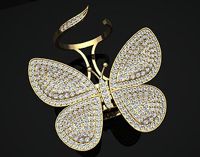 3D print model Butterfly Ring with Mechanism of Moving 1