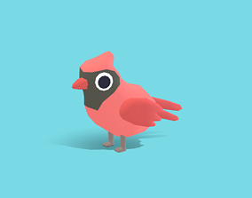 Chum the Cardinal - Quirky Series 3D model