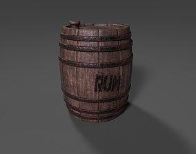 3D model game-ready Oak Barrel