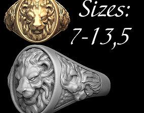 3D printable model Lion ring sizes