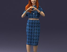 Cheerful red-haired girl in blue dress 0254 3D Print 1