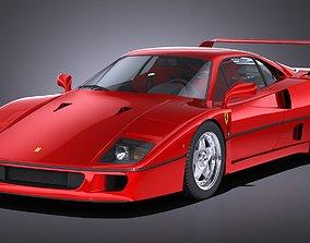 3D model LowPoly Ferrari F40 1987