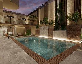 3D model swimming pool area kuwait house