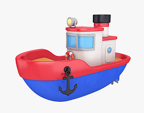 Cartoon boat yacht 3D