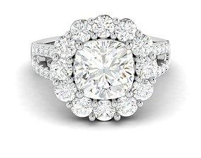 cushion engagement ring jewel 3D printable model