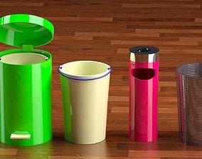 Trash can ashtray 3D asset
