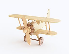 Wooden toy biplane 04 3D model