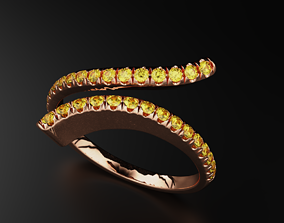 3D print model Stylish ring with diamonds for girls 543