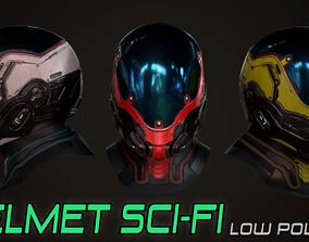 3D asset Futuristic sci fi helmet
