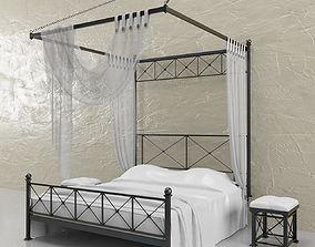 Bed and nightstands with venetian plaster 3D model