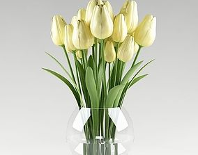 3D Ornamental plant 11 yellow tulips