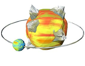 Cartoon Planet with Satellite 3D asset