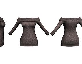 Knitted Off Shoulder Sweater 3D asset