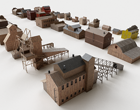 Wild west buildings collection 3d models realtime