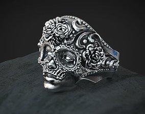 Masquerade Mask Skull Ring 3d model for 3d