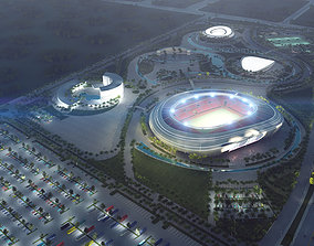 3d Architectural exterior visualization of a stadium