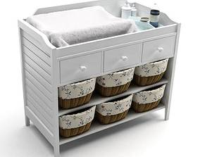 White Baby Changing Table 3D