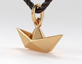 3D printable model gold pendant origami boat