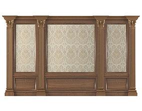 Wall wood boiserie paneling Wallpaper 3D model