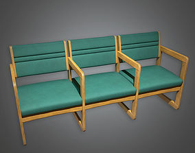 3D asset Waiting Room Hospital Chairs HPL - PBR Game Ready