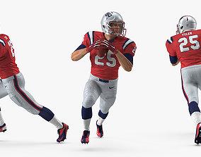3D American Football Player New England Patriots Running