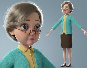 Cartoon Old Woman NoRig 3D model