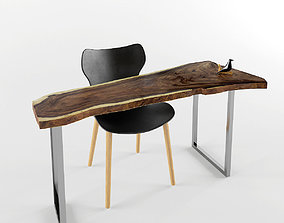 live-edge Table and chair 3D