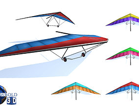 lowpoly hang glider set 3d model game-ready
