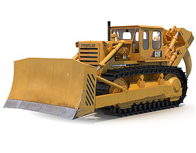 Bulldozer CAT Rigged 3D model