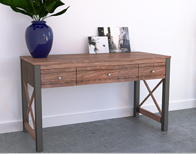 Rustic Wooden and Metal Desk for Office 3D