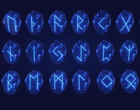 3D asset Elder Futhark 24 Runestones Pack