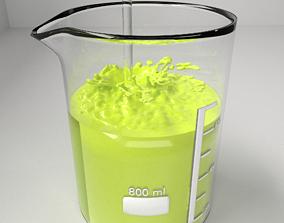 800 ml Glass Beaker with Liquid 2 and Rod 3D