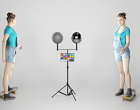 3D asset Young girl in short denim overalls on a 1